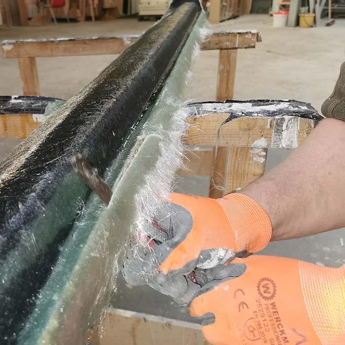 Snijden maldeel polyester